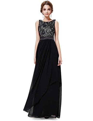 ... Ever Pretty Damen Kleid, Abendkleid, Rundhalsausschnitt, Ärmellos, Schwarz  08217 Schwarz ...