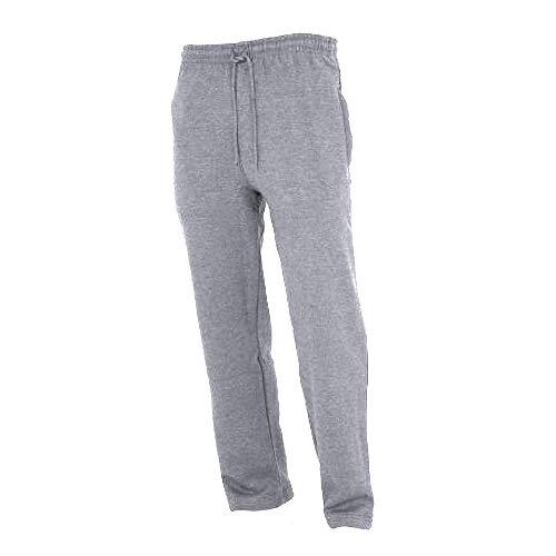Mädchen Stretch Cuffed Shorts (FLOSO® Kinder Unisex Jogginghose mit offenem Beinabschluss (11-12 Jahre) (Grau))