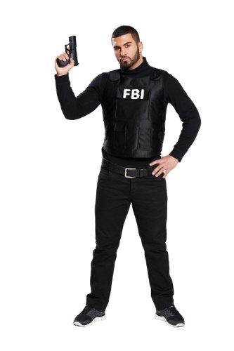 Polizei Kostüm Kugelsichere Weste (Schwarze FBI Weste kugelsichere Schutzweste Polizei Cop Gr. 48-58,)