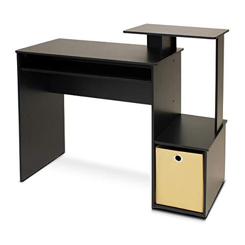 Furinno Laptoptisch 12095bk/BR ECON Mehrzweck Home Office Computer Schreibtisch mit Bin, schwarz/braun