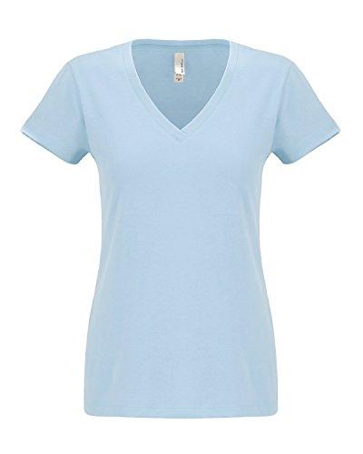 Nächsten level-women Sueded Short Sleeve v-6480 Blau - Hellblau