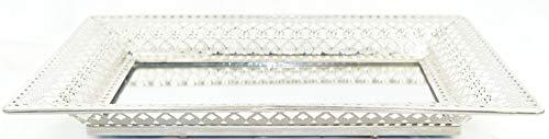 Formano Spiegel Tablett Silber 27x38cm | Vintage Deko Schale Metall | orientalische Servierplatte | große Tabletts