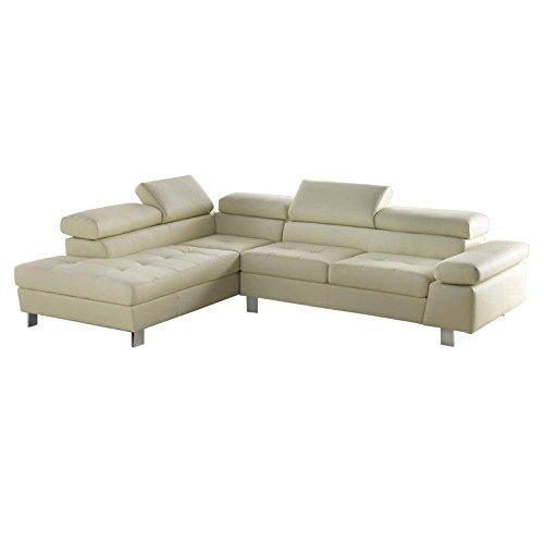 Esse italia divano fisso angolare in ecopelle panna penisola a sinistra 282x102xh.74 cm
