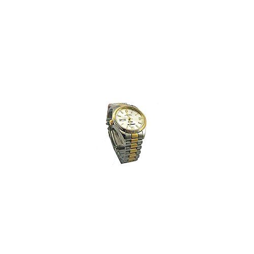watch automatic man wrist strap satin steel and laminated in gold altanus geneve 7957b