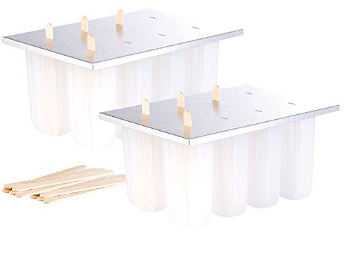 Rosenstein & Söhne Glaceformen: Eis-am-Stiel-Bereiter mit 8 Eisformen und 24 Holzstielen, 2er-Set (Stiel-Eis-Maker)