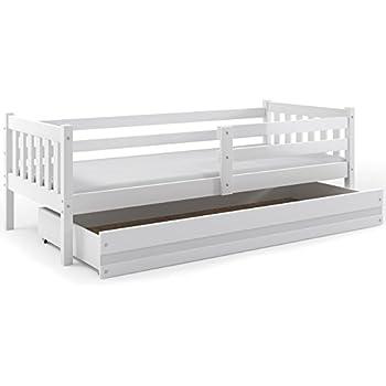 lit enfant carino 190x90 avec sommier et tiroir blanc ou. Black Bedroom Furniture Sets. Home Design Ideas