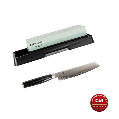 Kai Shun Premier Set Tim Mälzer Minamo | TMM-0701 Allzweckmesser | 15cm Klinge | ultrascharfes Japan Messer aus Damaststahl | + Kai-Schleifstein AP-0305 (Shun Premier Fleisch)
