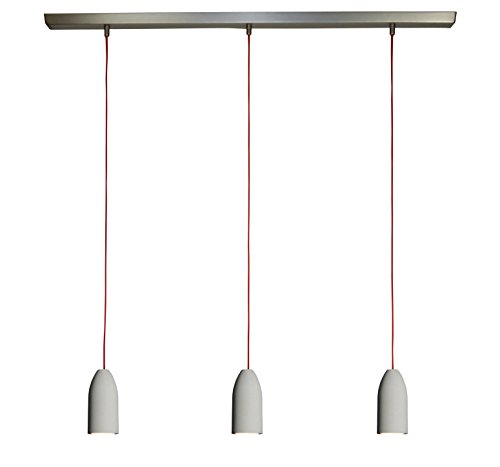 3x Betonlampe (hängend), Textilkabel'Rot' (19 Farben wählbar), Deckenschiene 113 cm, incl. LED...