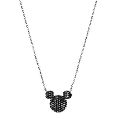Jennywho disney topolino argento 952 cristallo swarovski collana e argento, colore: nero, cod. mmswht