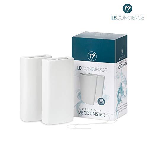 LE CONCIERGE Heizkörper Luftbefeuchter [2er Set] - Keramik Wasserverdunster für die Heizung, Keramik Luftbefeuchter Heizkörper 350ml inclusive Haken