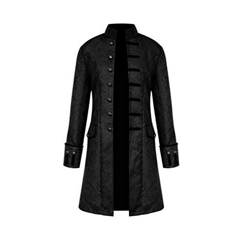 Yanli Herren Punk Vintage Frack Jacke Steampunk Mittelalterlichen Kostüm Cosplay Uniform Gothic Viktorianischen Gehrock Kostüm (XXXXL, Schwarz)