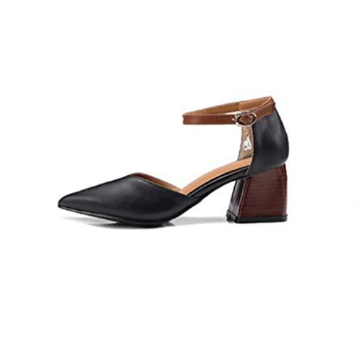 WRF Dick mit Baotou - Hollow Sandals - Schnalle mit dickem Absatz mit Wilden Damenschuhen (Farbe : Schwarz, größe : 41 1/3 EU) Black Satin Bow Sandals