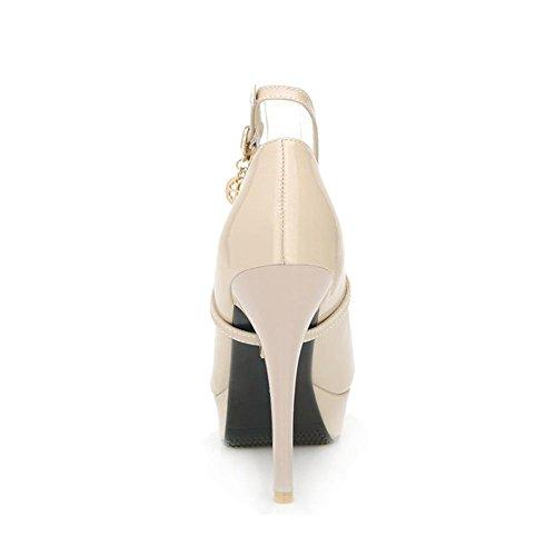 AgooLar Damen Lackleder Stiletto Spitz Zehe Rein Schnalle Pumps Schuhe Cremefarben