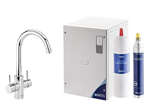 Brita Wassersprudler yource pro Select Elektronisch mit CO2 Zylinder - Mit Filter und Kühlung - Armatur rund, Chrom glänzend