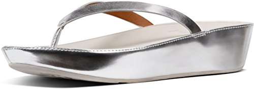 FitFlop LINNY MIRROR TOE-THONG Sandale 2018 silver mirror, 38 (Passform Thong Nahtlose)