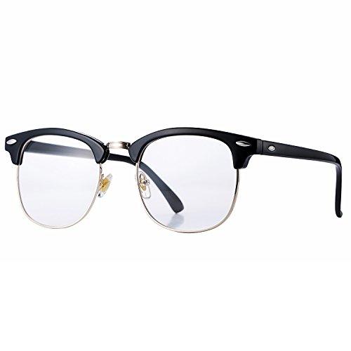 Pro Acme Klassische Halbrand polarisierte Sonnenbrille Clubmaster mit Metallnieten (Clear Lens, 52)