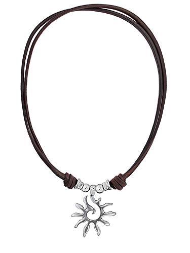 Beau Soleil Jewelry Lederkette Damen Halskette mit Anhänger Sonne längenverstellbar (Braun)