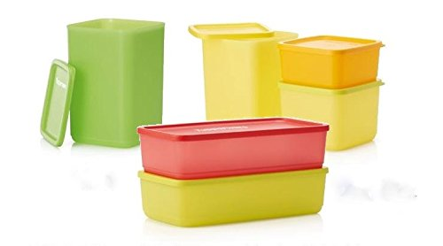 Tupperware B06X193G6H set of storage canisters with airtight cover new design, Kunststoff, grün / gelb / rot, 15 x 45 x 45 cm, 6 Einheiten