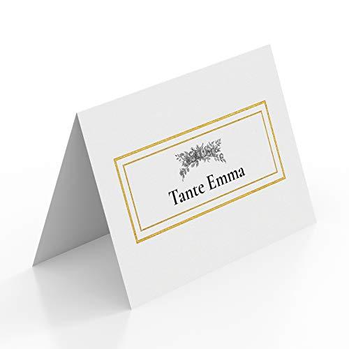 (80 x) Tischkarten Hochzeit Platzkarten Namenskarten Geburtstag Weiß Gold