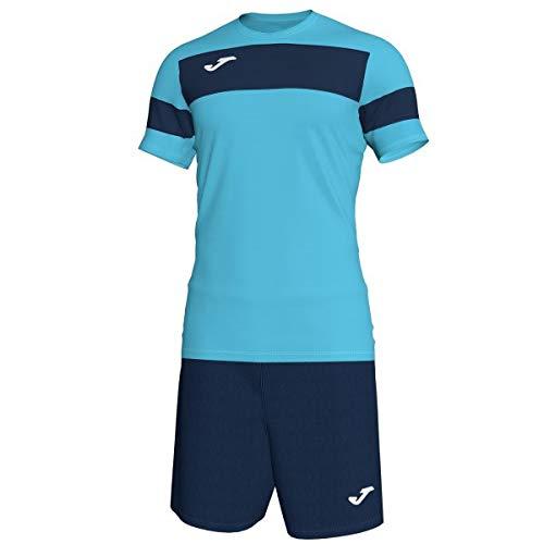 Joma Set M/C Academy II 101349 Turquoise Fluo-Navy Fashion Shirt Men, Uomo, Turchese Fluo-Navy, Large