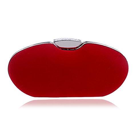 HAPPYTIMEBELT Hard Case Glitter Crystal Inlaid Clutch Bag(Red)