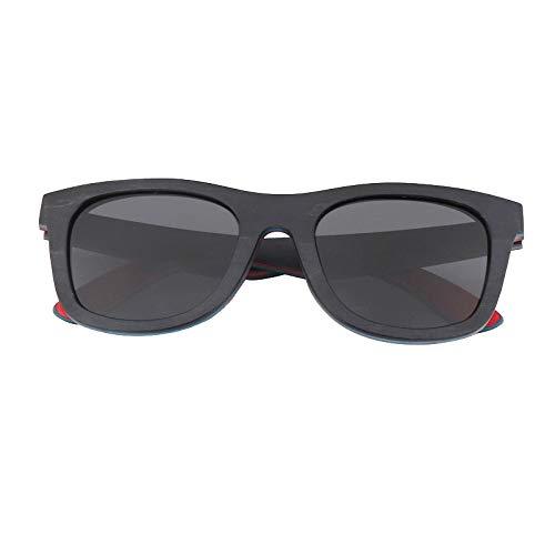 LKVNHP Holz Sonnenbrille Für Männer und Frauen Polarisierte Linse Skateboard Farbe Holz Sonnenbrille Hochwertige Tee linse Schwarze linse