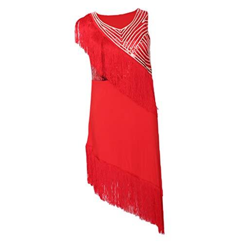 Rote Leggings Kostüm - Hellery Frauen Fringe Latin Dance Kleid