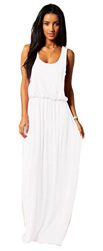Damen Kleid Maxikleid Bodenlang Sommer Urlaub Boho Stil Neon SML 36 38 40 (369) (Weiß)
