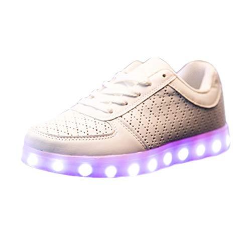 Herren/Damen Sneaker, Mode Leuchtende Freizeitschuhe für Paare Unisex Licht schnüren LED-Lade Sneaker USB Atmungsaktive Multifunktionale Schuhe