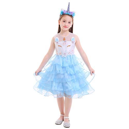 OBEEII Mädchen Einhorn Kostüm Weihnachten Allerheilige Karneval Geburtstag Geschenk Baby Kinder Prinzessin Kleid Blau 7-8 Jahre