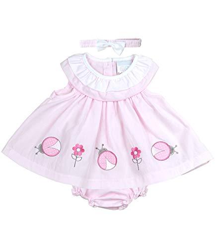 BabyPrem Babykleidung Kleidchen Kopfband & Höschen Set Marienkäfer 68-74cm Rosa