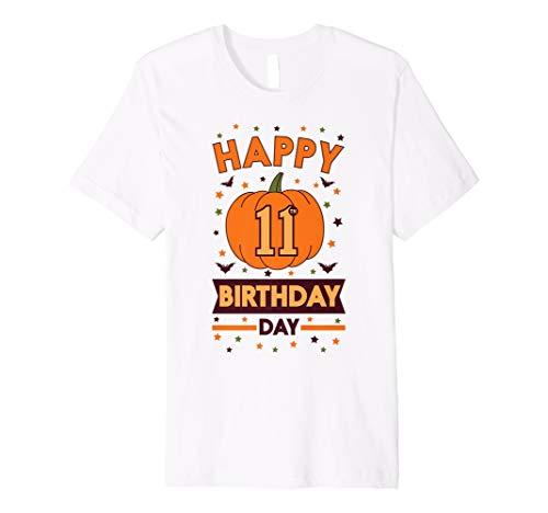 Happy 11th Birthday Kürbis Halloween Shirt Mädchen Jungen -