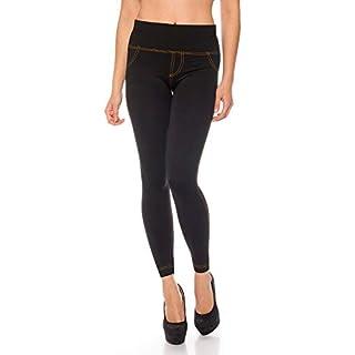 Kendindza Damen Thermo-Leggings Jeans-Look gefüttert mit Innen-Fleece Basic Blickdicht