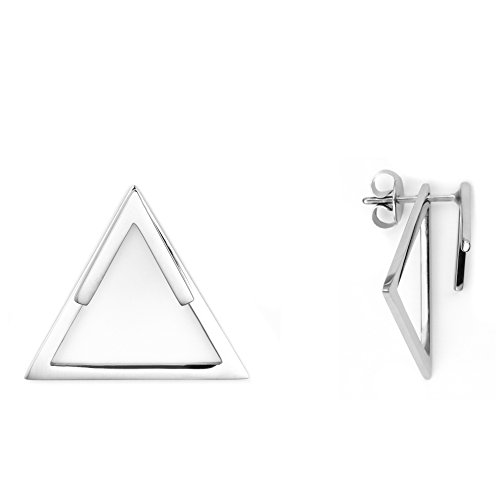Heideman Ohrringe Damen Dreieck Triangel aus Edelstahl silber farbend poliert eckige Ohrstecker für Frauen 2 in 1 Ohrschmuck Doppelohrringe Doppel vorne und hinten