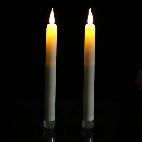 Velas LED estrechas, parpadeo ámbar, llama crema, decoración para iglesias, 23cm altura. Set de 2 de la marca PK Green