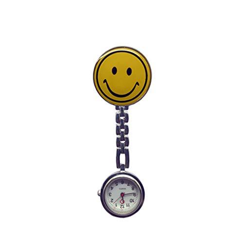 Soyion Schwesternuhr Ansteckuhr,Niedliches Smiley-Gesicht mit Pin/Clip,Taschenuhr für Health Care Arbeiter,Schwesternuhr Pulsuhr Ansteckuhr Krankenschwesteruhr Quarz (Gelb)