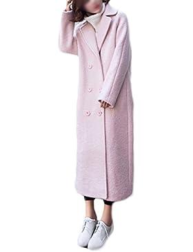 PDFGO Cappotti Donna Cappotto Di Lana Giacca Di Lana Cappotto Di Lana  Allentato Spessore Lunga Sezione 2df561cdb2e