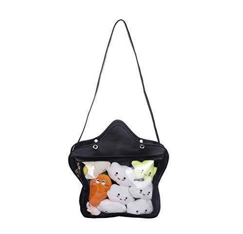 Fascinating Damen Klar Süßigkeit Leder-Handtasche Kawaii Handtasche Transparent Rucksäcke Stern Umhängetaschen Lolita Ita-Tasche Einheitsgröße Schwarz