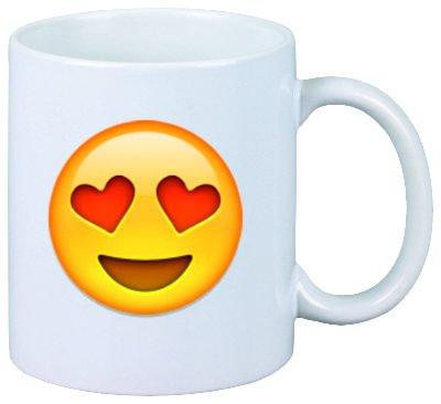 Taza-cara sonriente con el corazón en forma de ojos