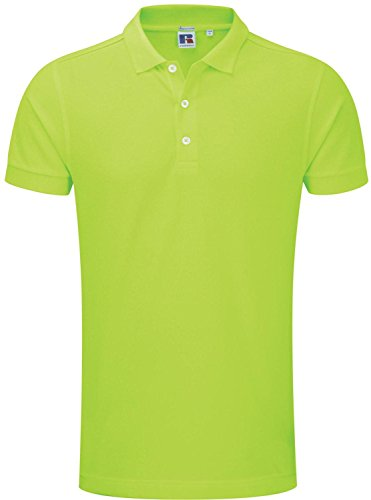 Russell Herren Stretch Baumwolle Polo Shirt/Top Short Sleeve Shirt Tees Slim Fit Grün - Lime