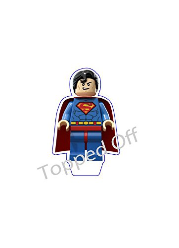 1-pre-cut-51-129-cm-tall-Lego-Superman-edible-cake-topper-decoration-by-Topped-Off-FREE-UK-SHIPPING