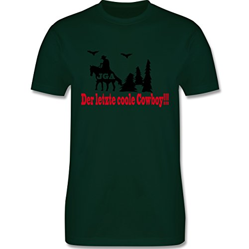 JGA Junggesellenabschied - Der letzte coole Cowboy - Herren Premium T-Shirt Dunkelgrün