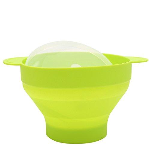 Guoyy popcorn popper collapsible - ciotola in silicone, senza bpa, con coperchio e manici