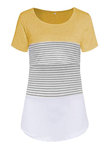 Love2Mi Damen Mutterschaft Spitze gestreift Stillende Oberteile Kurzarm Stitching Stillendes T-Shirt - Mutterschaft Shirt