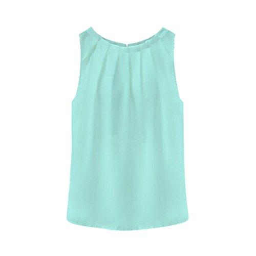Jewel Bandeau (BHYDRY Oberteile Hemd Damen Tropisch Falten ärmellosen Chiffon Blusen Weste Tops T-Shirt(Small,Himmelblau))