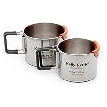 Kelly Kettle Taza De Camping juego 350 & 500ml 2 x individual cercado acero inoxidable camping
