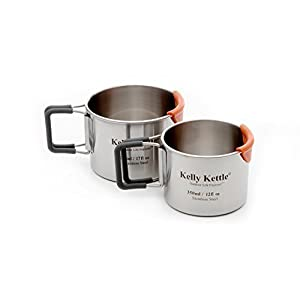 31N7xZcR3qL. SS300  - Camping Cup set (350 & 500ml) 2 x High quality single walled stainless steel Camping Cups. Features Include: Silicone coated foldable handles for comfort / CooLipTM feature to protect lips from burning / measurements on inside of cup / Polished internally for easy cleaning / Dishwasher safe.