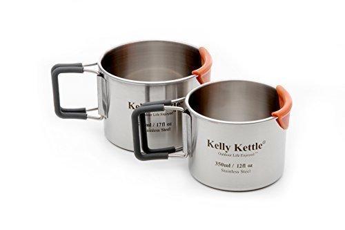Kelly Kettle Lot de 2tasses de camping en acier inoxydable à simple paroi 350/500ml Poignées pliantes à revêtement silicone pour plus de confort / Système CooLip pour éviter toute brûlure des lèvres / Mesures à l'intérieur des...