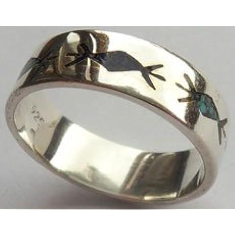Indiano anello - Navajo Style Ring, in argento Sterling 925, rombo, di lapislazzuli, turchesi, n, 910010