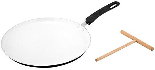 Keramik Induktion Pfannkuchenpfanne Crepespfanne Pancake - Ø 30cm - incl. Teigverteiler aus Holz